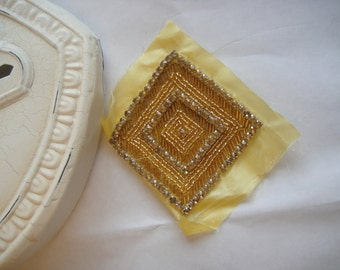 Gold Beaded Patch, Beaded Organza, Beaded Patch, Beaded Applique, Gold Applique  (17-091)