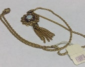KRAMER Vintage Estate, New with Original Tag, Tassel with Opal and Amethyst Rhinestone Pendant Necklace - Signed and New