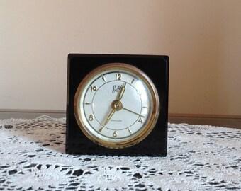 Vintage Mid Century,  Black Bakelite Cased Sheffield, Small Windup Alarm Clock made is west Germany