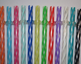 """50 Mixed 9"""" Reusable Straws Clear Swirly Colors Hard Plastic Acrylic Rings BPA Free"""