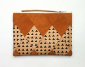 FREE SHIPPING // Large Patchwork Zip Clutch // tan leather and cognac suede with black triangles