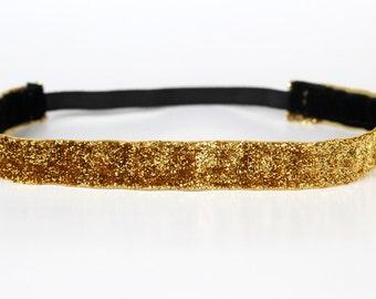 "Gold Sparkle Non-Slip Headband 3/4"" - NonSlip Headband, NoSlip Headband, Mother's Day Gift, Running, Dance, Team Spirit, Cheer, Marathon, 5k"