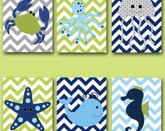 Bathroom Decor Baby Nursery Decor Baby Boy Nursery Art Kids Room Decor Nursery Wall Art Kids Wall Art Sea Fish Crab Whale Jellyfish set of 6