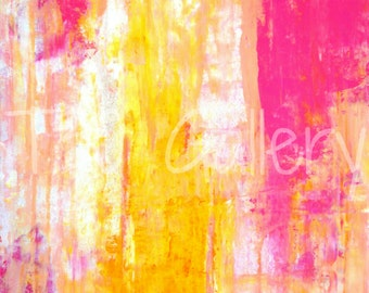 Digital Download - Growing Taller, Pink and Yellow Abstract Artwork