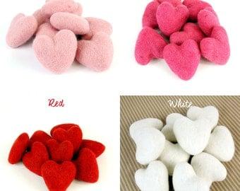 Medium Felt Hearts -  6cm Felt Hearts -  You Choose Among 4 Colors Available - Valentine's Day hearts - Wool Felt Hearts