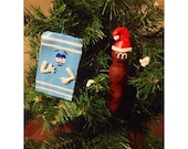 Handmade, Handpainted South Park Towelie and Mr. Hankey original one of a kind clay Christmas holiday ornaments