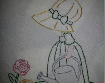 Flour sack Dishtowel - Sunbonnet Gardener