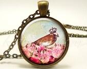 Bohemian Bird Crown Necklace, Gypsy Pendant, Free Spirit Boho Hippie Jewelry (1950B1IN)