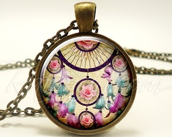 Bohemian Dream Catcher Necklace, Gypsy Pendant, Boho Jewelry (1915B1IN)