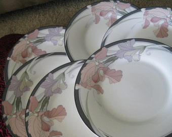Noritake Cafe Du Soir Salad plates Set of 6 good to  very  good with only minor utensil wear