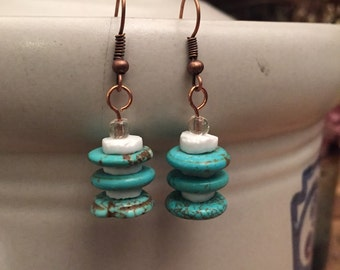 Turquoise, white and copper earrings
