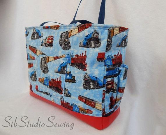 trains diaper bag zipper closure lots of pockets train. Black Bedroom Furniture Sets. Home Design Ideas