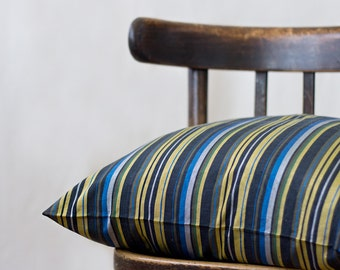 striped silk pillow, 20x20, SINGLE, chair pillow, decorative throw pillow, silk cushion, striped pillow case, nautical pillow, blue yellow