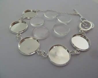 5 x Silver plated Bracelets each with 5 x 16mm trays AND glass domes