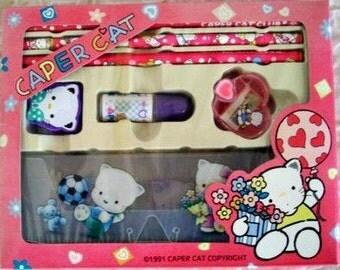 Caper Cat Club Pencil Set Hello Kitty Type Stationary Kit 1990s School Supplies Kitschy Cat Pencil Box Kawaii Dainty