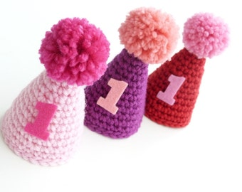 Mini Party Hat--First Birthday--Crochet Hat--Photo Prop--Pom Pom Hat--Boy or Girl Birthday--Sweetlace shop