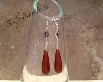 Silver red agate teardrop earrings
