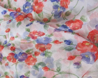 """Scarf - Extra Large White Floral Sheer Poly Scarf 21"""" x 68"""" Long - Affordable Scarves!!!"""