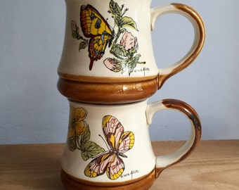 2 Vintage 1979 Alice Butterfly Coffee or Tea Mugs