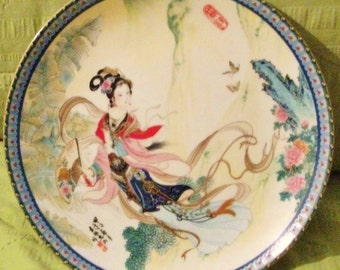 Hand Painted Porcelain Chinese Plate Detailed Painting by Zhao
