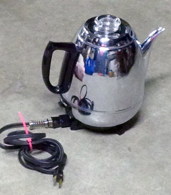 Vintage Ge Coffee Percolator Chrome Pot Belly Deco
