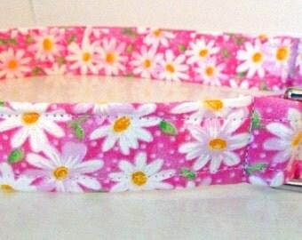 "Pink & White Shasta Daisy Dog Collar -""Shasta""- Free Colored Buckles"
