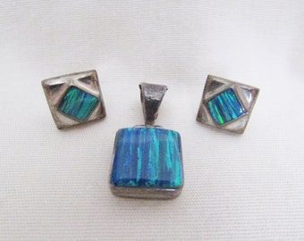 Vintage Silver Glass Earring Pendant Set - 1970s Mexican Sterling Pierced Square Blue Green Striped