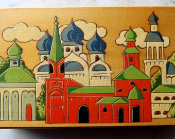 Vintage folk art wooden box Pyrography - Eastern European- Russian village scene-handpainted and wood burn design 1970's mint condition