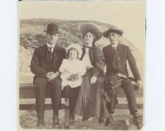 Family on the Fence, Early 1900s: Antique Snapshot Photo (53350)