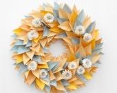 Modern Large Wreath-Everyday Wreath-Paper Wreath-Flower Wreath-Cottage Decor-Pastel Wreath-Sola Flowers-Modern Decor