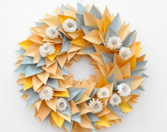 ON SALE!-Modern Large Wreath-Everyday Wreath-Paper Wreath-Flower Wreath-Cottage Decor-Pastel Wreath-Sola Flowers-Modern Decor