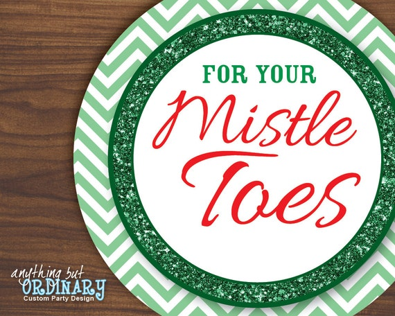For Your Mistletoes Gift Tags, DIY Editable Christmas Circle Labels ...