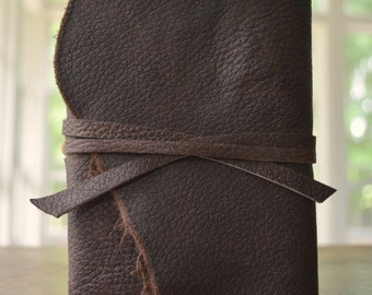 Brown Bullhide Bound Leather Journal Art Notebook Diary Pocket Custom Made to Order (423C)