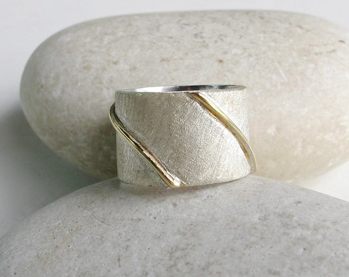 Sterling Silver Wide Band- Geometric Minimalist Brushed Band Ring- Statement Textured Wide Ring- Modern Boho Gypsy Band