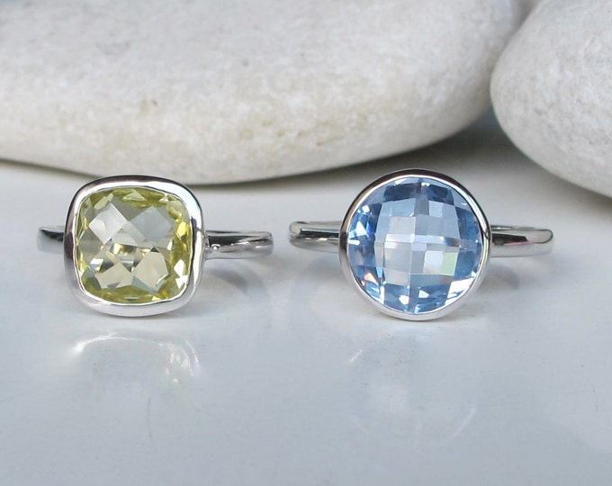 Stack Ring- Blue Topaz Ring- Citrine Ring- Stackable Ring- Birthstone Ring- Square Ring- Statement Ring- Gifts for Her