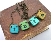Colorful Girl Name Necklace in shades of Green and Mustard, Mexican Fiesta Style jewelry, Colorful Bunting Name Necklace, Pennant Jewelry