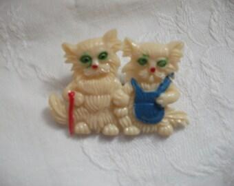 Cute little Kitties  early plastic brooch