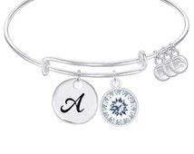 INITIAL Expandable Wire Bangle Bracelet with APRIL Birthstone Charm and Angel Wing Charm Silver Finish