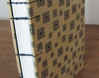 Tan with Black Squares Journal With Coptic Binding