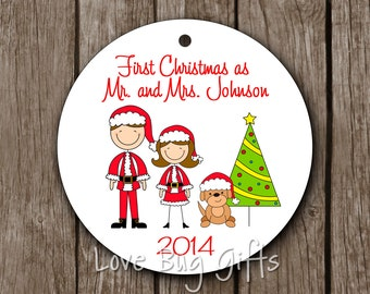 Our First Christmas (with dog) Ornament • Family • Christmas • Dog