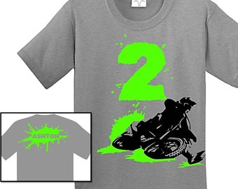 Dirt Bike Birthday Shirt Personalized Sizes 12m To Youth