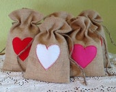Valentine Burlap heart bags