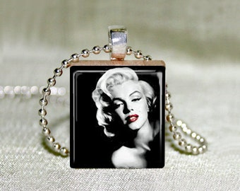 "Scrabble Jewelry - Marilyn Monroe 3 With Red Lips - Choose Pendant or Necklace - Marilyn Monroe Jewelry - Charm - 18"" Chain"