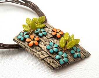 Flower Jewelry Faux Wooden Jewelry Brown Jewelry Flower Necklace Long Necklace Polymer Jewelry Spring Jewelry Gift For Her Flowers