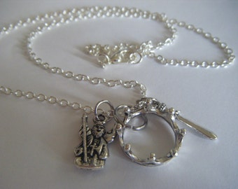 MERLIN bbc tv Series King Arthur Camelot Necklace Hand Made in the UK Excaliber Crown Wizard Emrys