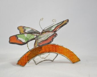 Butterfly on a Branch - Stained Glass Art