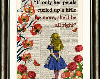 Alice in the Garden of Live Flowers vintage book page print on a page from a late 1800s Dictionary