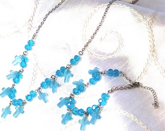 Blue Crosses Necklace & Bracelet Set Cats Eye and Austrian Crystals Handmade by NorthCoastCottage Jewelry