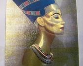 Vintage Golden Print of Nefertiti Matted