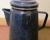 VALENTINESALE Vintage Blue Enamel Ware Dark Blue Coffee Pot